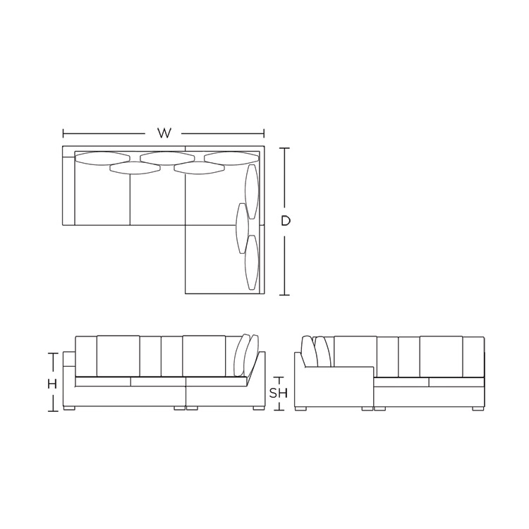 Modular Sofa - Right arm, closed